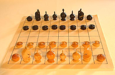 the initial array: how the pieces are set up in makruk (Thai chess)
