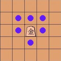move of the gold 'kin-sho' or gold general in shogi (Japanese chess)