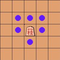 move of the promoted knight 'narikei' in shogi (Japanese chess)