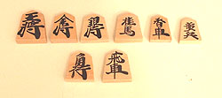 the chessmen of shogi (Japenese chess)