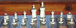 traditional Muslim chessmen, all lathed abstractions