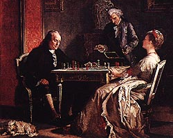 Ben Franklin playing with Lady Howe, a famous game which occurred in London 1774