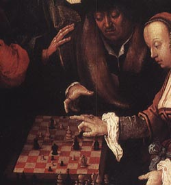 detail of a painting by the Dutch master, van Leyden, showing courier chess in play